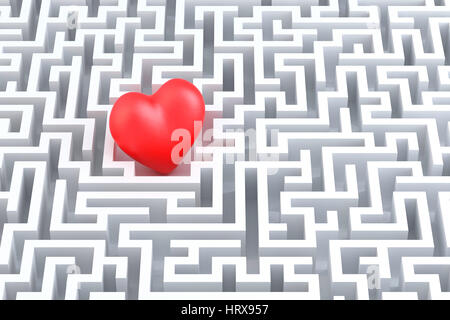 Rotes Herz in der Mitte des Labyrinths. 3D illustration - Stockfoto