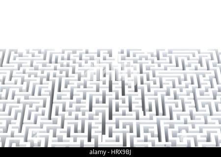 Abstrakt weiß Labyrinth mit Exemplar. Isoliert auf weiss. Clipping-Pfad enthält. - Stockfoto