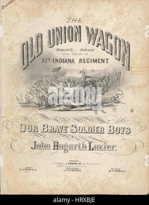 """Noten-Cover-Bild des Liedes """"The Old Union Wagon"""", mit ursprünglichen Autorschaft Noten lesen """"Von John Hogarth - Stockfoto"""