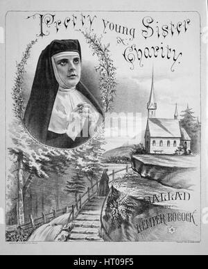 """Noten-Cover-Bild des Liedes """"ziemlich junge Schwester Charity Ballade"""", mit ursprünglichen Autorschaft Noten lesen - Stockfoto"""