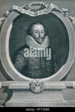 William Shakespeare (1564-1616), englischer Dichter und Dramatiker, 1721, (1913). Künstler: George Vertue - Stockfoto