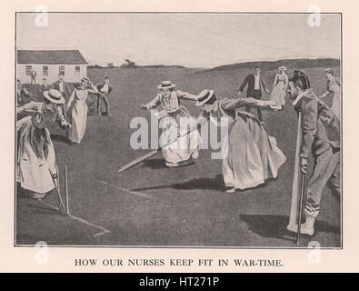 """""""Wie unsere Krankenschwestern Fit in Kriegszeiten zu halten"""", 1901 (1912). Künstler: unbekannt. - Stockfoto"""