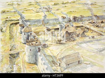 Portchester Castle, Ende des 10. Jahrhunderts, (c1990-2010). Künstler: Peter Dunn. - Stockfoto