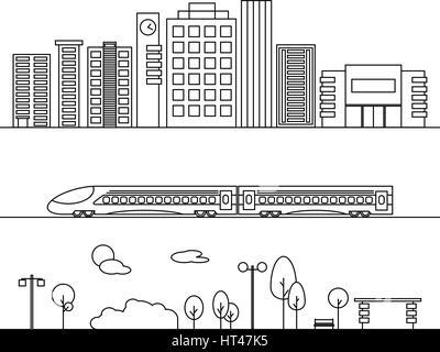 Vektorelemente Stadt Umriss-Stil. Illustrationen mit Gebäude, Häuser, Zug und Natur-Elemente. Ideal für Business - Stockfoto