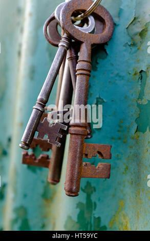 Haufen alter verrosteter Schlüssel auf grünem Hintergrund - Stockfoto