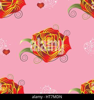 Nahtlose Vektormuster mit Rosen und Herzen auf rosa Hintergrund - Stockfoto