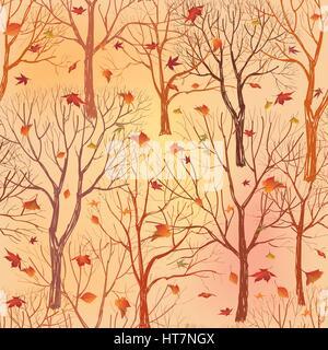 Natur nahtlose Muster. Wald Fliesen- Hintergrund. Bäume und Vögel Wildtiere Vector Illustration. Blumen schwarze - Stockfoto