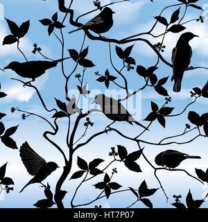 Vögel Silhouette auf Zweig und Blatt nahtlose Hintergrund. florale Muster. vector Vektor dekorative Abbildung. - Stockfoto