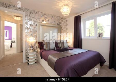 Wohngebäude, Schlafzimmer Dekoriert In Lila Und Silber, Wand, Silberne  Tapete, Blumenmuster,
