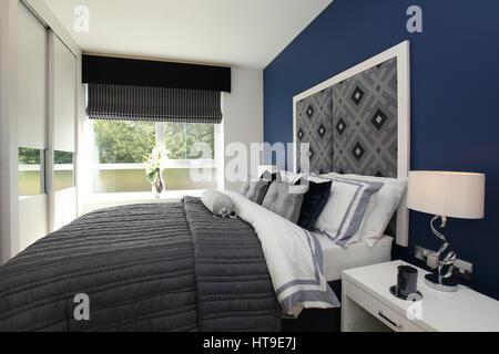 Wohngebäude, Schlafzimmer, Blau, Einrichtung, Bett Verteilt, Gepolstertes  Kopfteil, Eigenschaftswand,