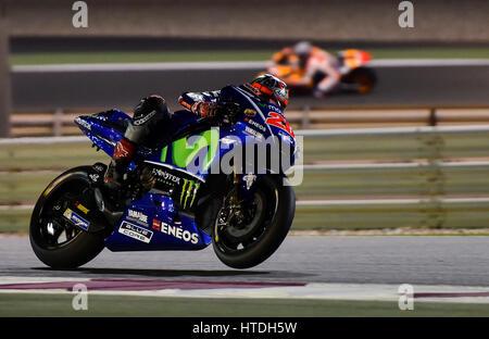 Doha. 10. März 2017. Movistar Yamaha MotoGP Spanier Maverick Vinales beteiligt sich an der Vorsaison-Test auf dem - Stockfoto