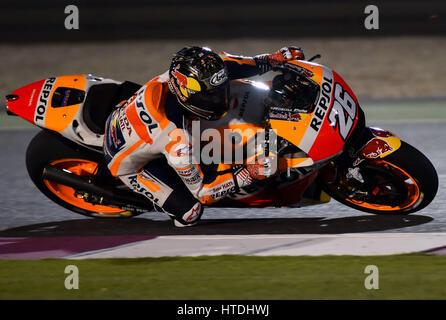 Doha. 10. März 2017. Repsol Honda Team Spanier Dani Pedrosa steuert sein Motorrad während der Vorsaison-Test auf - Stockfoto