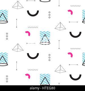 Retro-Dreiecke in der 90er Jahre Stil nahtlose Vektormuster. - Stockfoto