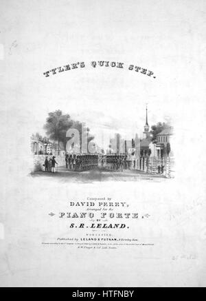 """Titelbild der Noten des Liedes """"Tylers Quick Step"""", mit ursprünglichen Autorschaft Noten lesen """"Komponiert von David - Stockfoto"""