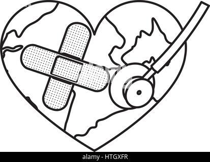Abbildung Erde Planeten Herz mit Band-Hilfe-Symbol Vektor Abbildung ...