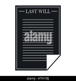 Testament-Symbol, schwarz einfach Briefstil - Stockfoto