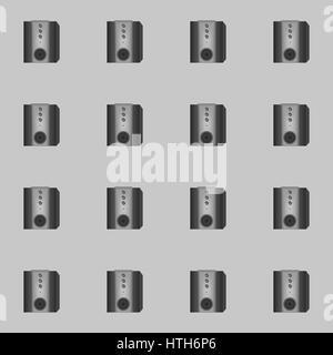Nahtlose Muster Lautsprecher auf einem grauen Hintergrund - Stockfoto