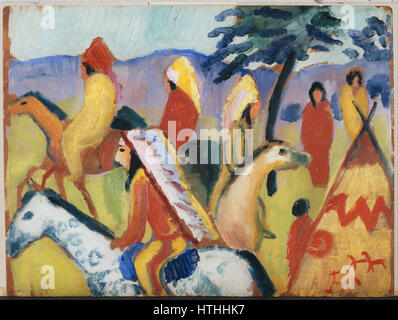 Macke, August - Reitende Indianer Beim Zelt - Google Art Project - Stockfoto
