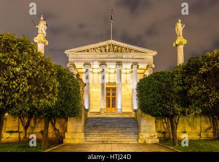 Das Hauptgebäude der Akademie von Athen, Griechenland - Stockfoto