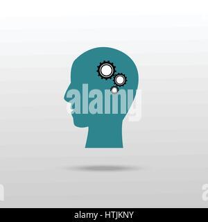 Zahnräder im menschlichen Kopf-Symbol. Einfache Darstellung von Zahnrädern in menschlichen Kopf Vektor Icon für - Stockfoto