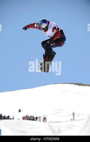 Sierra Nevada, Spanien. 10. März 2017. Taku Hiraoka (JPN) Snowboarding: Taku Hiraoka Japans konkurriert in der 2017 - Stockfoto