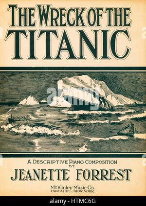 Das Wrack der Titanic, eine beschreibende Klavierkomposition von Jeanette Forrest. Veröffentlichte 1912. Resultate - Stockfoto