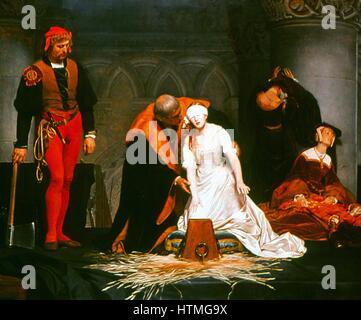 """Die Hinrichtung der Lady Jane Grey """"(1537-1554): Gemälde von Paul Delaroche (1797-1856). """"Die neun Tage Königin"""", - Stockfoto"""