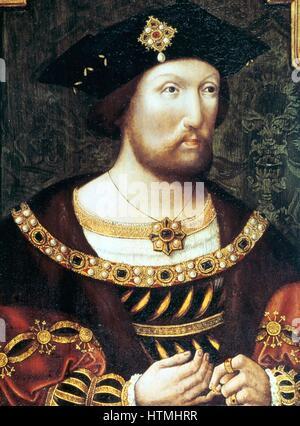 Heinrich VIII. (1491-1547) König von England und Irland von 1509. Anonymes Porträt c 1520. - Stockfoto