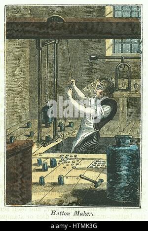 Button Maker: Stanzen, Metallknöpfe. Blank gehalten und Gewicht halten, sterben für Muster, die Arbeit von Seil - Stockfoto