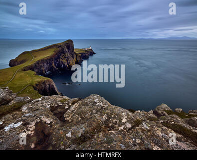 Landschaftlich Point Lighthouse, Isle Of Skye, Schottland Stockfoto