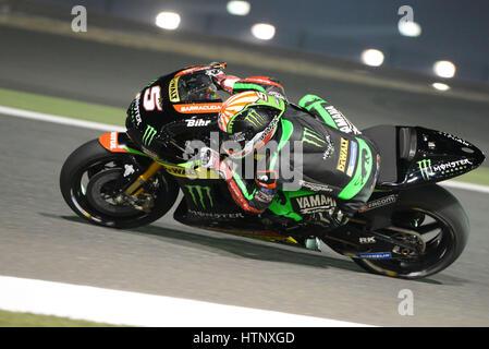 Losail Circuit, Katar. 12. März 2017. Johann Zarco, während der letzte Tag der Qatar MotoGP Wintertest in Losail - Stockfoto