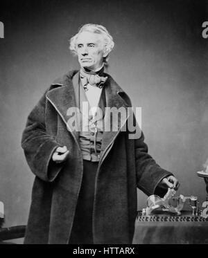 SAMUEL MORSE (1791-1872) mit seinem Fernschreiber Sender fotografiert von Matthew Brady im Jahre 1857 - Stockfoto