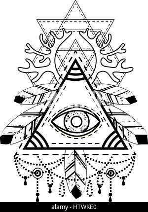 Allsehendes Auge Pyramide Symbol. - Stockfoto