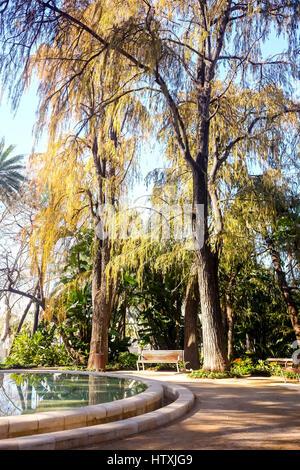 schöne dekorative Brunnen hoch dekoriert im Park von Malaga, Spanien - Stockfoto