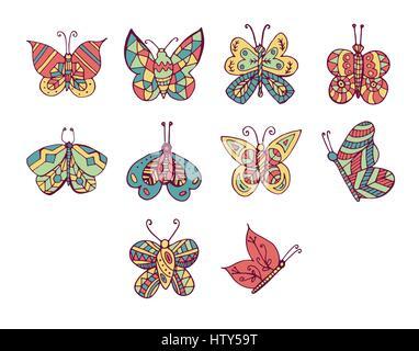 Vektor Icon set für Schmetterlinge vor weißem Hintergrund - Stockfoto