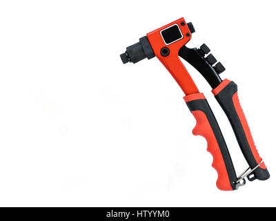 Neue rote professionelle Nieten Pistole auf weißen Hintergrund isoliert - Stockfoto