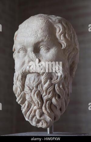 Leiter der klassische griechische Philosoph Sokrates (469-399 v. Chr.). Römische Kopie nach einem griechischen Original - Stockfoto