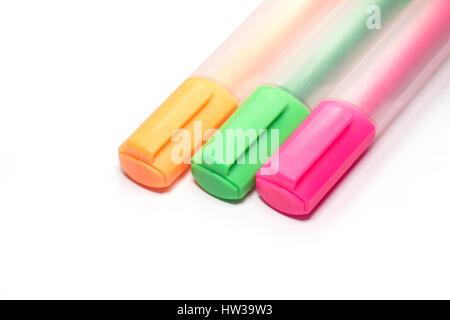 Bunte Textmarker Marker oder zentra Stift - Stockfoto
