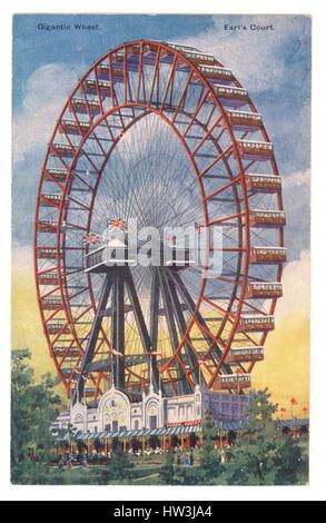 Edwardian Hand getönt Postkarte von The Great Wheel, Earls Court, London. Das Riesenrad wurde errichtet für das - Stockfoto