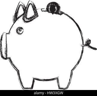 monochrome Skizze der Spardose in Form von piggy - Stockfoto