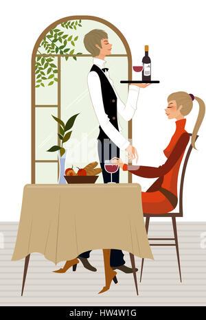 Seitenansicht Der Kellner Serviert Wein Mit Einer Frau In Einem