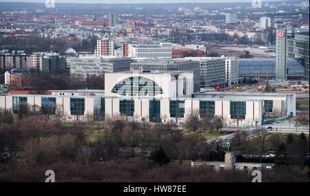 Berlin, Deutschland. 16. März 2017. Bundeskanzleramt, fotografiert aus dem Bahn-Tower am Potsdamer Platz in Berlin, - Stockfoto
