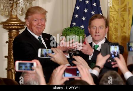 Irische Taoiseach Enda Kenny präsentiert US Präsident Donald Trump mit einer Schüssel Shamrock während der jährlichen - Stockfoto