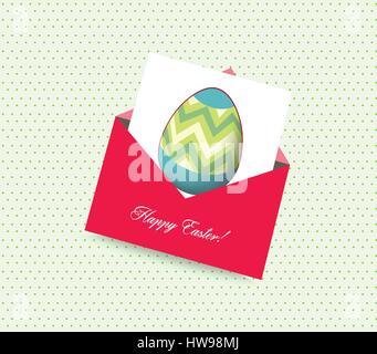 glücklich Osterkarte mit Umschlag Ei - Stockfoto