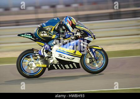 Losail Circuit, Katar. 19. März 2017. Xavi Vierge, die TECH 3 Fahrten während der letzten Nacht des Katar Moto 2 - Stockfoto