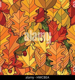 abstrakte Doodle Herbstlaub nahtloses Muster - Stockfoto