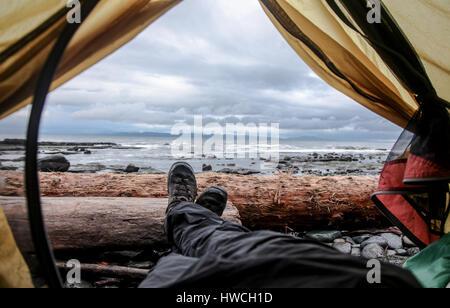 Rucksack der Juan de Fuca Trail, Vancouver Island BC - Stockfoto