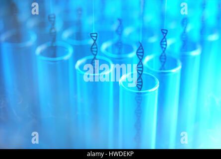 3D Illustration. Einige Dna vom die Reagenzgläser genommen werden. Konzept-Bild des genetischen Klonen. - Stockfoto