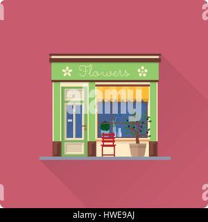 flaches Design lange Schatten Blumenladen bauen Vektor-illustration - Stockfoto