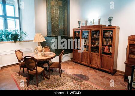 Mir, Belarus - 1. September 2016: Bibliothek der Prinz Mikhail Swjatopolk-Mirsky und Ausstellung im Burgmuseum Komplex. - Stockfoto